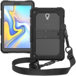 Shockproof Transparent PC + Silica Gel Protective Case for Galaxy Tab A 10.5 T590, with Holder & Shoulder Strap (Grey)