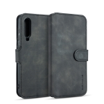DG.MING Retro Oil Side Horizontal Flip Case for Galaxy A70, with Holder & Card Slots & Wallet (Black)