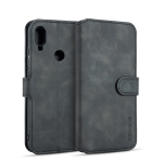 DG.MING Retro Oil Side Horizontal Flip Case for Galaxy M20, with Holder & Card Slots & Wallet (Black)