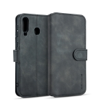 DG.MING Retro Oil Side Horizontal Flip Case for Galaxy M30, with Holder & Card Slots & Wallet (Black)