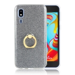 Glittery Powder Shockproof TPU Protective Case for Galaxy A2 Core, with 360 Degree Rotation Ring Holder (Black)