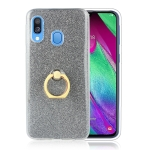 Glittery Powder Shockproof TPU Protective Case for Galaxy A30 / A40 / A60, with 360 Degree Rotation Ring Holder (Black)
