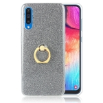 Glittery Powder Shockproof TPU Protective Case for Galaxy A70, with 360 Degree Rotation Ring Holder (Black)
