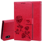Rose Embossed Horizontal Flip PU Leather Case for Galaxy A10, with Holder & Card Slots & Wallet (Red)