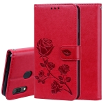 Rose Embossed Horizontal Flip PU Leather Case for Galaxy A30 / A20, with Holder & Card Slots & Wallet (Red)