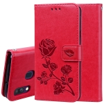 Rose Embossed Horizontal Flip PU Leather Case for Galaxy A40, with Holder & Card Slots & Wallet (Red)