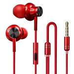 F2 1.2m Wired In Ear 3.5mm Interface Metal HiFi Noise Reduction Earphones with Mic (Red)