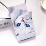 White Cat Pattern Colored Drawing Horizontal Flip Leather Case for Galaxy J6 Plus, with Holder & Card Slots & Wallet & Lanyard