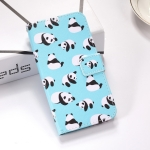 Pandas Pattern Colored Drawing Horizontal Flip Leather Case for Galaxy J6 Plus, with Holder & Card Slots & Wallet & Lanyard