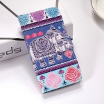 Elephant Pattern Colored Drawing Horizontal Flip Leather Case for Galaxy J6 Plus, with Holder & Card Slots & Wallet & Lanyard