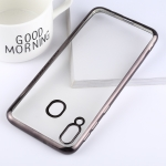 Ultra-thin Electroplating Soft TPU Protective Back Cover Case for Galaxy M20 (Black)
