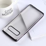 Ultra-thin Electroplating Soft TPU Protective Back Cover Case for Galaxy S10 (Black)