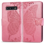 Butterfly Love Flowers Embossing Horizontal Flip Leather Case for Galaxy S10, with Holder & Card Slots & Wallet & Lanyard (Pink)