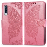 Butterfly Love Flowers Embossing Horizontal Flip Leather Case for Galaxy A50, with Holder & Card Slots & Wallet & Lanyard (Pink)