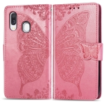 Butterfly Love Flowers Embossing Horizontal Flip Leather Case for Galaxy A40, with Holder & Card Slots & Wallet & Lanyard (Pink)
