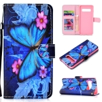 Butterfly Pattern Colored Drawing Horizontal Flip Leather Case for Galaxy S10, with Holder & Card Slots & Wallet & Lanyard