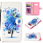 Flower Bird Pattern Colored Drawing Horizontal Flip Leather Case for Galaxy S10 E, with Holder & Card Slots & Wallet & Lanyard