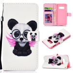 Spectacle Bear Pattern Colored Drawing Horizontal Flip Leather Case for Galaxy S10 E, with Holder & Card Slots & Wallet & Lanyard