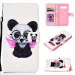 Spectacle Bear Pattern Colored Drawing Horizontal Flip Leather Case for Galaxy S10 Plus, with Holder & Card Slots & Wallet & Lanyard