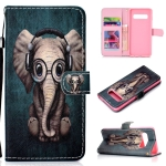 Elephant Pattern Colored Drawing Horizontal Flip Leather Case for Galaxy S10 Plus, with Holder & Card Slots & Wallet & Lanyard