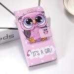 Cute Owl Pattern Colored Drawing Horizontal Flip Leather Case for Galaxy A30, with Holder & Card Slots & Wallet & Lanyard