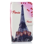 Love Tower Pattern Horizontal Flip Leather Case for Galaxy M10, with Holder & Card Slots & Wallet