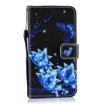 Blue Butterfly Flower Pattern Horizontal Flip Leather Case for Galaxy M10, with Holder & Card Slots & Wallet