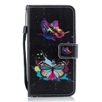 Colorful Butterfly Pattern Horizontal Flip Leather Case for Galaxy A40, with Holder & Card Slots & Wallet