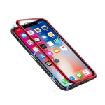 Mocolo Magnetic Metal Frame Tempered Glass Case for iPhone X / XS(Red)