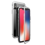Mocolo Magnetic Metal Frame Tempered Glass Case for iPhone X / XS(Silver)