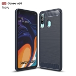 Brushed Texture Carbon Fiber TPU Case for Galaxy A60(Navy Blue)
