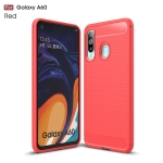 Brushed Texture Carbon Fiber TPU Case for Galaxy A60(Red)