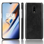Shockproof Litchi Texture PC + PU Case For OnePlus 7(Black)