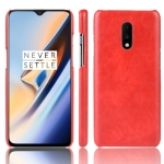 Shockproof Litchi Texture PC + PU Case For OnePlus 7(Red)
