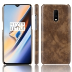 Shockproof Litchi Texture PC + PU Case For OnePlus 7(Brown)