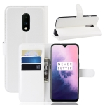 Litchi Skin PU Leather Wallet Stand Mobile Casing for OnePlus 7(white)