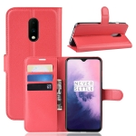 Litchi Skin PU Leather Wallet Stand Mobile Casing for OnePlus 7(red)