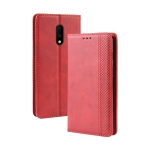 Magnetic Buckle Retro Crazy Horse Texture Horizontal Flip Leather Case for OnePlus 7  , with Holder & Card Slots & Photo Frame(Red)