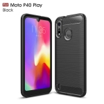 Brushed Texture Carbon Fiber TPU Case for Motorola MOTO P40 Play(Black)