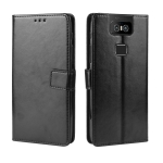 Retro Crazy Horse Texture Horizontal Flip Leather Case for Asus Zenfone 6 ZS630KL  , with Holder & Card Slots & Photo Frame(Black)