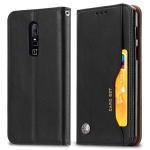 Knead Skin Texture Horizontal Flip Leather Case for OnePlus 6, with Photo Frame & Holder & Card Slots & Wallet(Black)