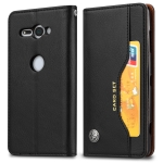 Knead Skin Texture Horizontal Flip Leather Case for Sony Xperia XZ2 Compact, with Photo Frame & Holder & Card Slots & Wallet(Black)