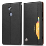 Knead Skin Texture Horizontal Flip Leather Case for Sony Xperia XA2, with Photo Frame & Holder & Card Slots & Wallet(Black)