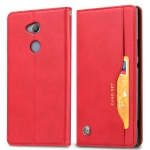 Knead Skin Texture Horizontal Flip Leather Case for Sony Xperia XA2, with Photo Frame & Holder & Card Slots & Wallet(Red)