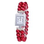 Square Dial Diamond Pearl Bracelet Watch(Red)