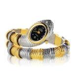 2 PCS Snake Shape Bracelet Diamonds-plated Quartz Watch(Interval Gold )
