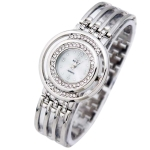 Women Round Dial Diamond Plated Alloy Hollow Bracelet Quartz Watch(Silver)