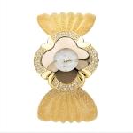 2 PCS Flower Shape Mirror Dial Diamond Grid Strap Quartz Watch for Women(Gold)