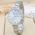 2 PCS Women Large Dial Stainless Steel Fine Strap Quartz Watch(Sliver)