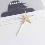 2 PCS Best Gift for Women Hair Clip Bright Hairpin Simple Hair Styling Accessories(Gold starfish)